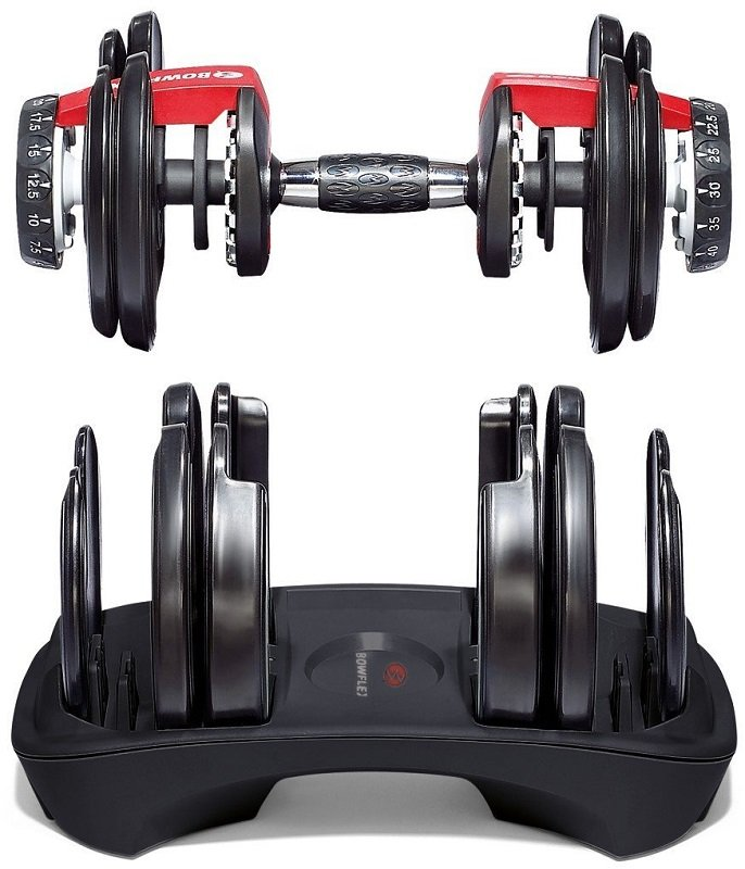 Bowflex SelectTech 552 dumbbells and base